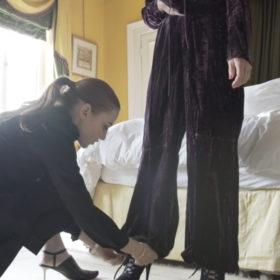 Kate looks at the YSL trouser hem