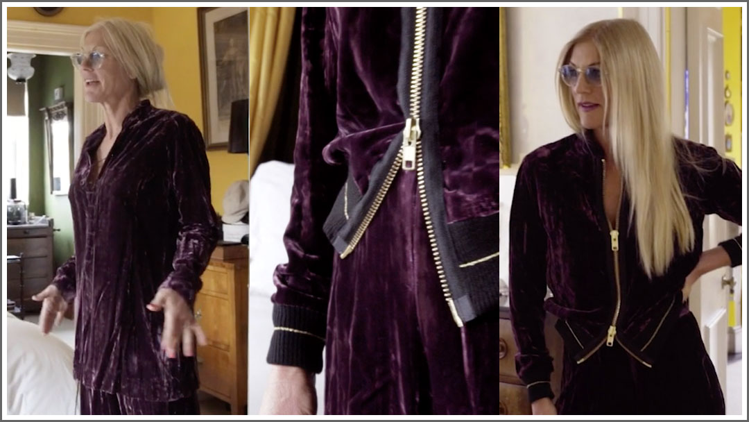 Episode 1 Converted Closet Victoria's YSL 1970s vintage suit is turned into a cool bomber jacket and trousers